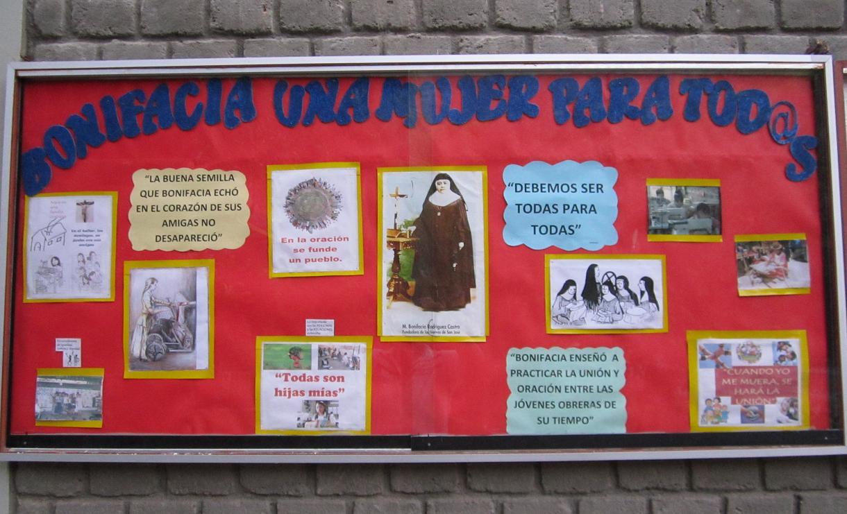 En honor a bonifacia i e mar a inmaculada fe y for Estructura de un periodico mural